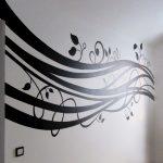 Черно-белая роспись в интерьере.