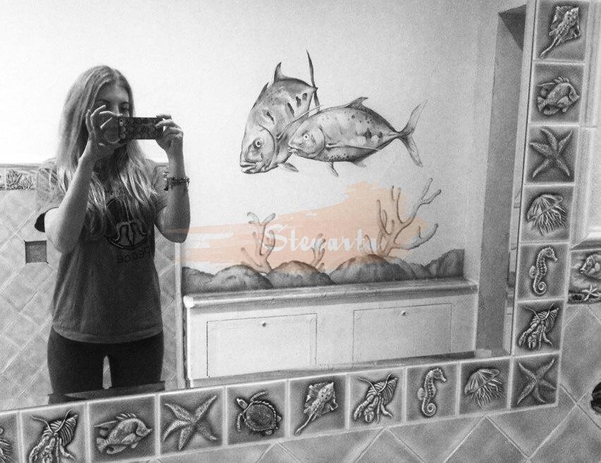 роспись в ванной рыбы