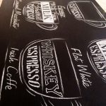 Рисунки мелом в кафе