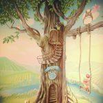 роспись в детской с деревом.